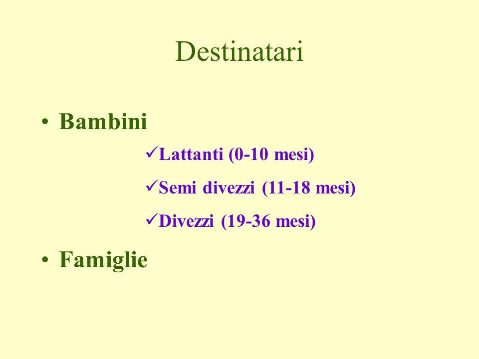 Destinatari Bambini Famiglie Lattanti (0-10 mesi) Semi divezzi (11-18 mesi) Divezzi (19-36 mesi)