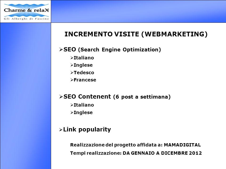 INCREMENTO VISITE (WEBMARKETING)  SEO (Search Engine Optimization)  Italiano  Inglese  Tedesco  Francese  SEO Contenent (6 post a settimana)  I