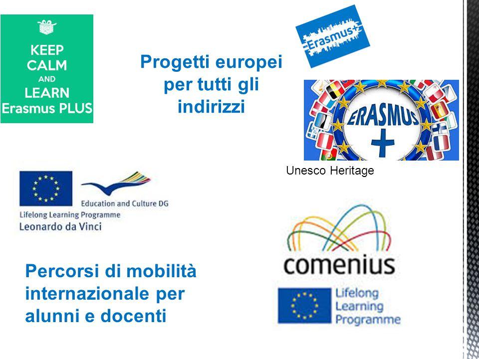 Progetti europei per tutti gli indirizzi Percorsi di mobilità internazionale per alunni e docenti Unesco Heritage