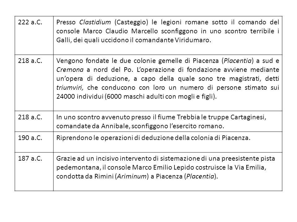 222 a.C.Presso Clastidium (Casteggio) le legioni romane sotto il comando del console Marco Claudio Marcello sconfiggono in uno scontro terribile i Galli, dei quali uccidono il comandante Viridumaro.