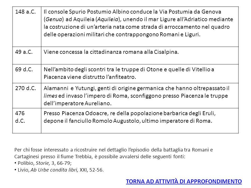 148 a.C.Il console Spurio Postumio Albino conduce la Via Postumia da Genova (Genua) ad Aquileia (Aquileia), unendo il mar Ligure all'Adriatico mediant