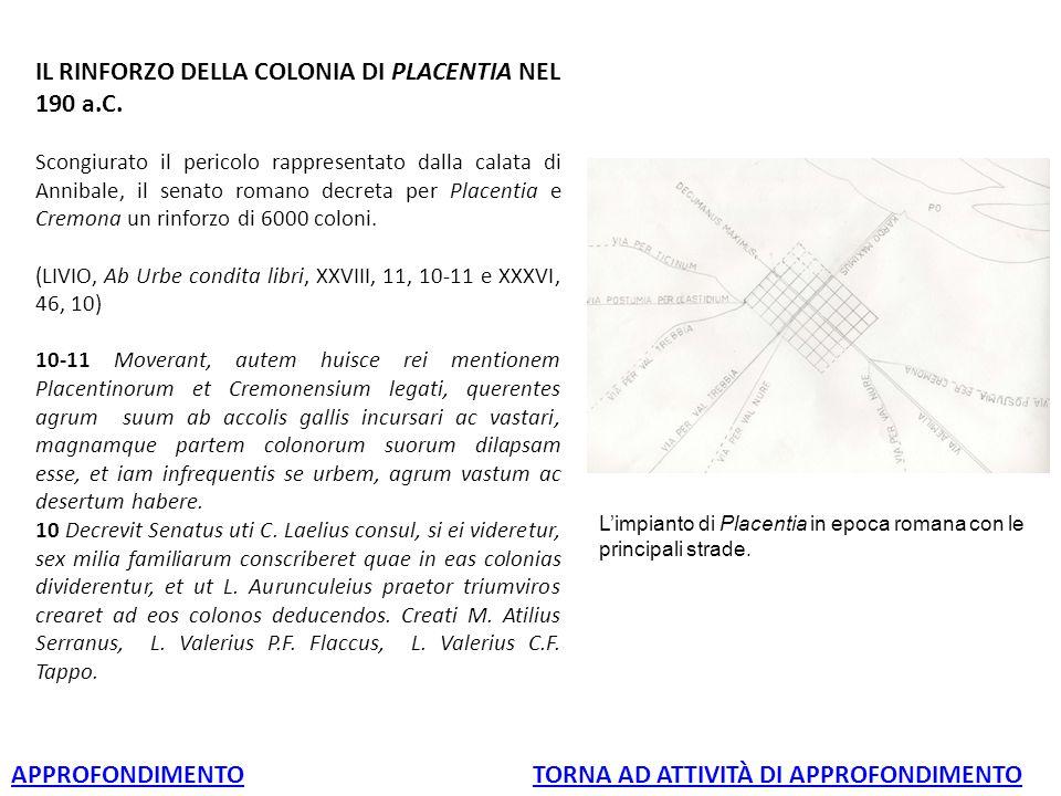 IL RINFORZO DELLA COLONIA DI PLACENTIA NEL 190 a.C. Scongiurato il pericolo rappresentato dalla calata di Annibale, il senato romano decreta per Place