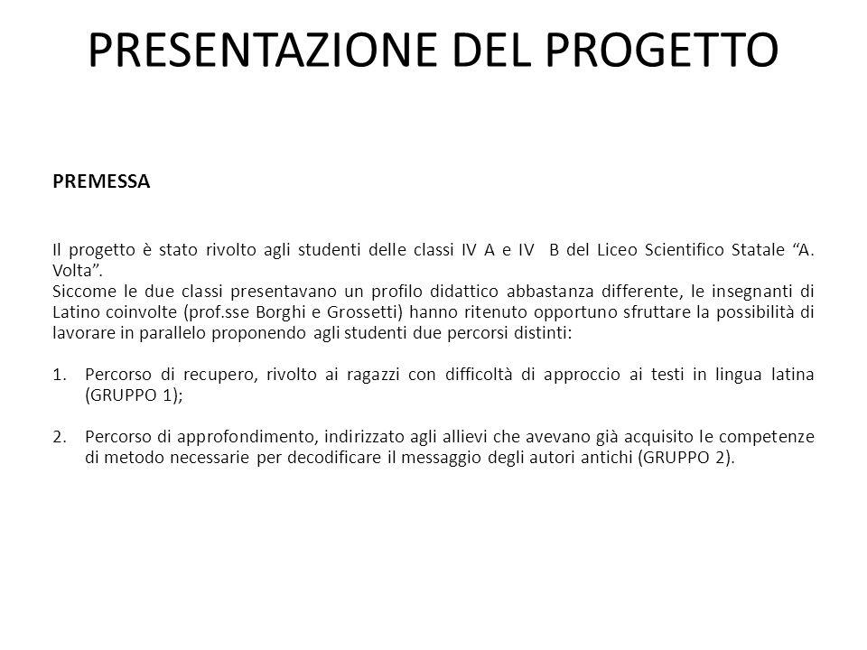 PRESENTAZIONE DEL PROGETTO PREMESSA Il progetto è stato rivolto agli studenti delle classi IV A e IV B del Liceo Scientifico Statale A.
