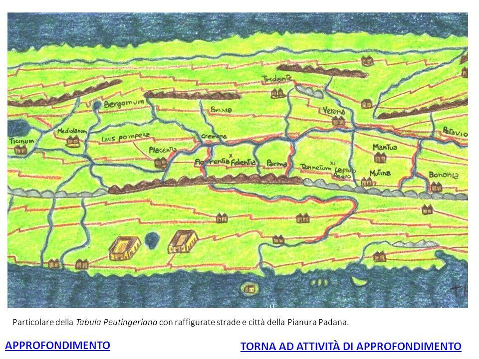 Particolare della Tabula Peutingeriana con raffigurate strade e città della Pianura Padana. APPROFONDIMENTO TORNA AD ATTIVITÀ DI APPROFONDIMENTO