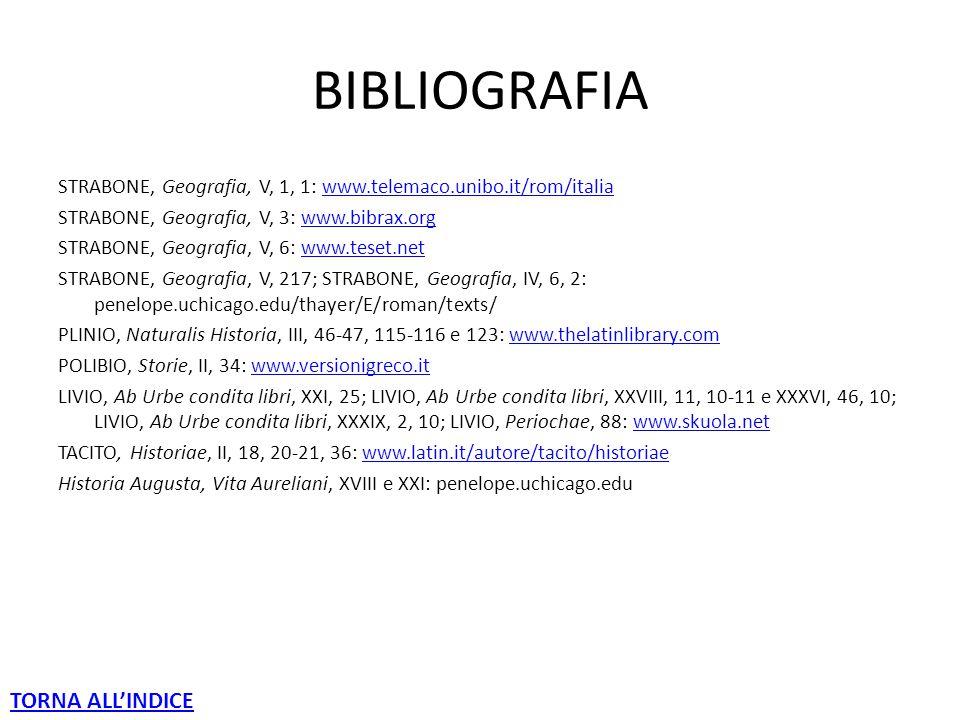 BIBLIOGRAFIA STRABONE, Geografia, V, 1, 1: www.telemaco.unibo.it/rom/italiawww.telemaco.unibo.it/rom/italia STRABONE, Geografia, V, 3: www.bibrax.orgwww.bibrax.org STRABONE, Geografia, V, 6: www.teset.netwww.teset.net STRABONE, Geografia, V, 217; STRABONE, Geografia, IV, 6, 2: penelope.uchicago.edu/thayer/E/roman/texts/ PLINIO, Naturalis Historia, III, 46-47, 115-116 e 123: www.thelatinlibrary.comwww.thelatinlibrary.com POLIBIO, Storie, II, 34: www.versionigreco.itwww.versionigreco.it LIVIO, Ab Urbe condita libri, XXI, 25; LIVIO, Ab Urbe condita libri, XXVIII, 11, 10-11 e XXXVI, 46, 10; LIVIO, Ab Urbe condita libri, XXXIX, 2, 10; LIVIO, Periochae, 88: www.skuola.netwww.skuola.net TACITO, Historiae, II, 18, 20-21, 36: www.latin.it/autore/tacito/historiaewww.latin.it/autore/tacito/historiae Historia Augusta, Vita Aureliani, XVIII e XXI: penelope.uchicago.edu TORNA ALL'INDICE