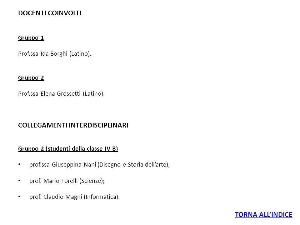 DOCENTI COINVOLTI Gruppo 1 Prof.ssa Ida Borghi (Latino). Gruppo 2 Prof.ssa Elena Grossetti (Latino). COLLEGAMENTI INTERDISCIPLINARI Gruppo 2 (studenti