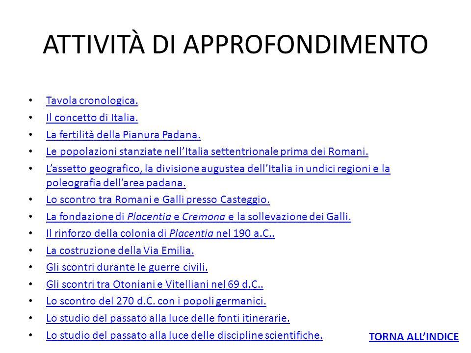 ATTIVITÀ DI APPROFONDIMENTO Tavola cronologica. Tavola cronologica. Il concetto di Italia. Il concetto di Italia. La fertilità della Pianura Padana. L