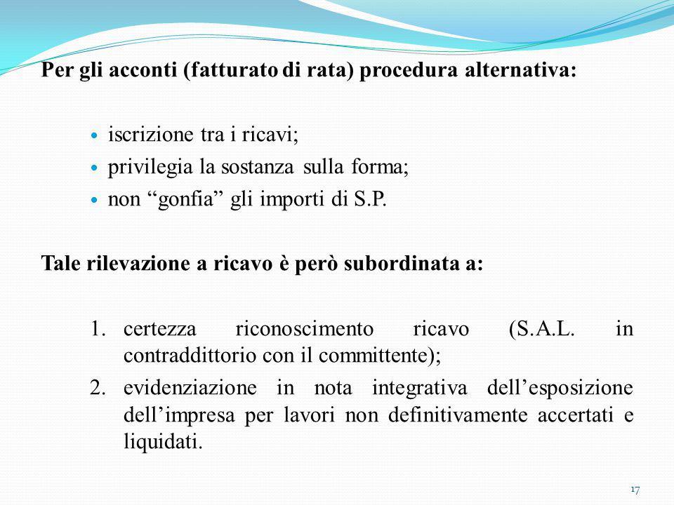 Per gli acconti (fatturato di rata) procedura alternativa: iscrizione tra i ricavi; privilegia la sostanza sulla forma; non gonfia gli importi di S.P.