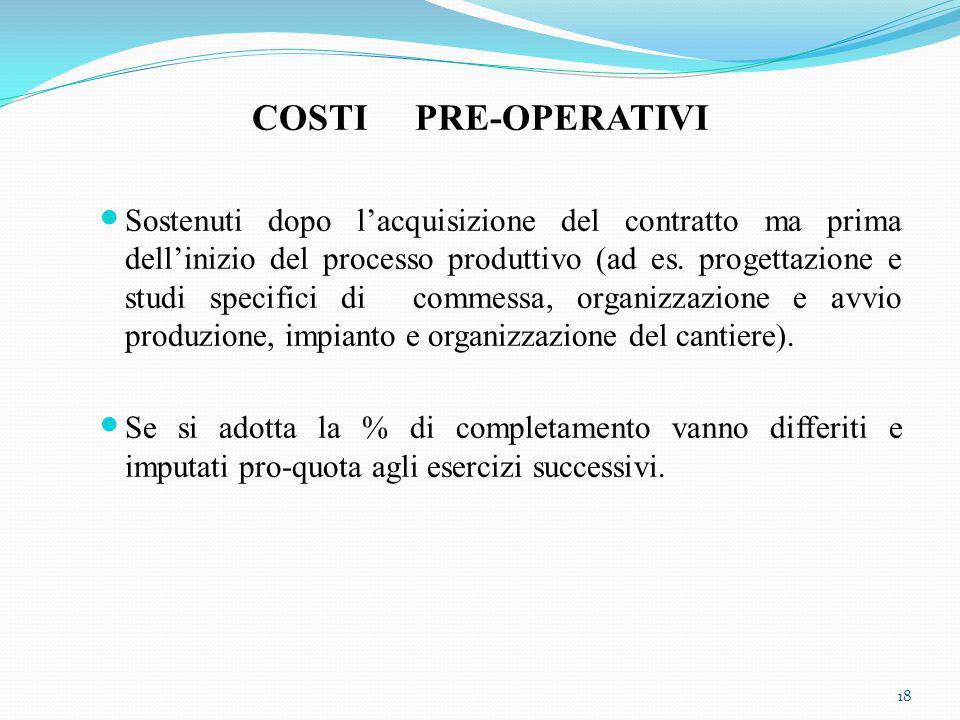 COSTI PRE-OPERATIVI Sostenuti dopo l'acquisizione del contratto ma prima dell'inizio del processo produttivo (ad es.