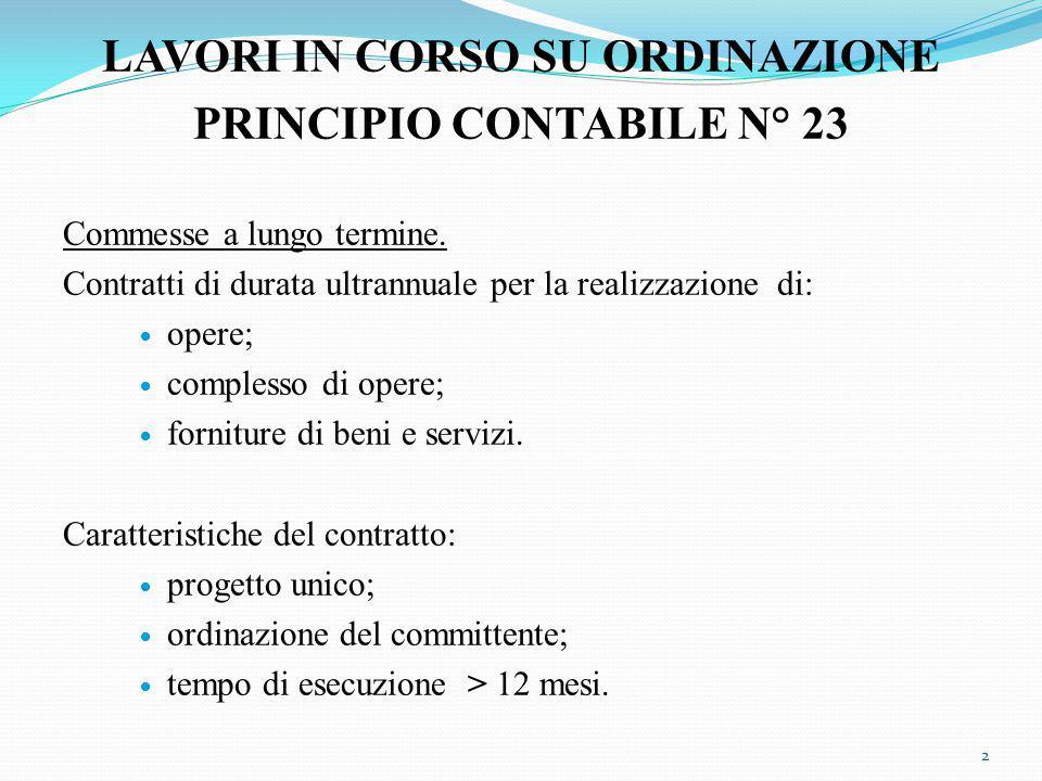 LAVORI IN CORSO SU ORDINAZIONE PRINCIPIO CONTABILE N° 23 Commesse a lungo termine.