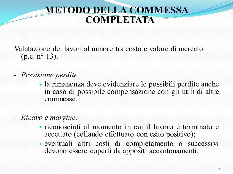 METODO DELLA COMMESSA COMPLETATA Valutazione dei lavori al minore tra costo e valore di mercato (p.c.