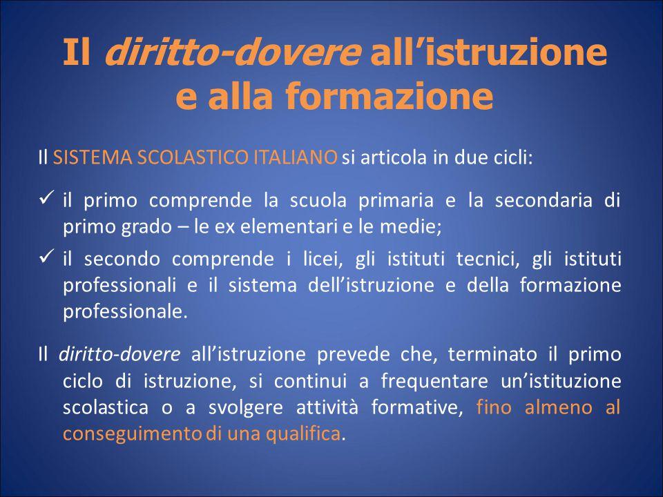Il diritto-dovere all'istruzione e alla formazione Il SISTEMA SCOLASTICO ITALIANO si articola in due cicli: il primo comprende la scuola primaria e la