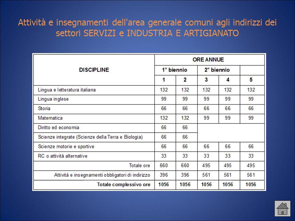 Attività e insegnamenti dell'area generale comuni agli indirizzi dei settori SERVIZI e INDUSTRIA E ARTIGIANATO