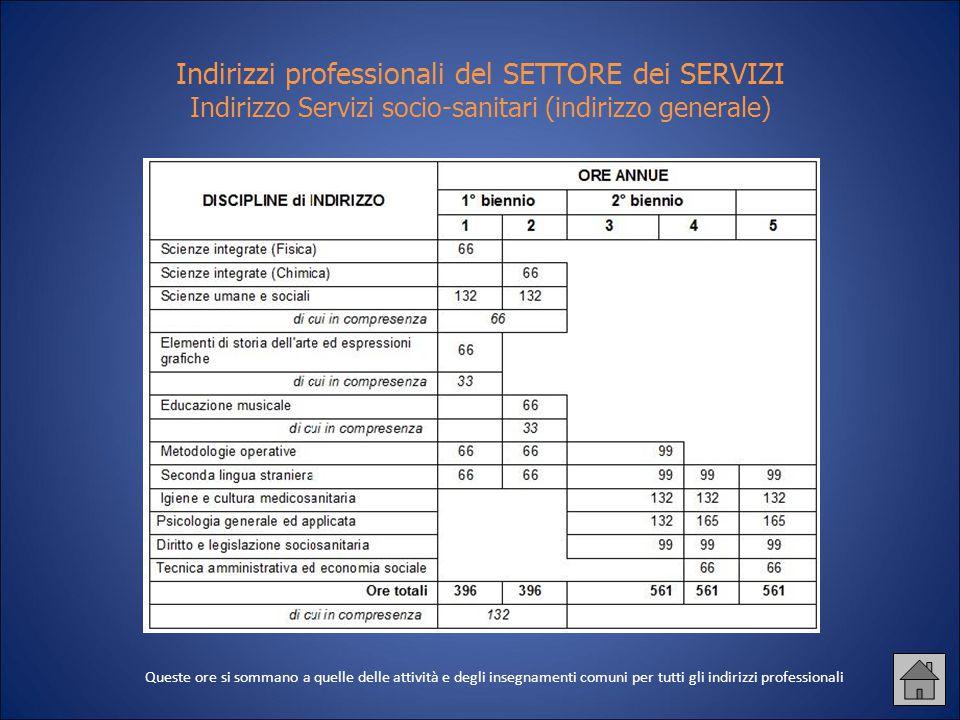 Indirizzi professionali del SETTORE dei SERVIZI Indirizzo Servizi socio-sanitari (indirizzo generale) Queste ore si sommano a quelle delle attività e