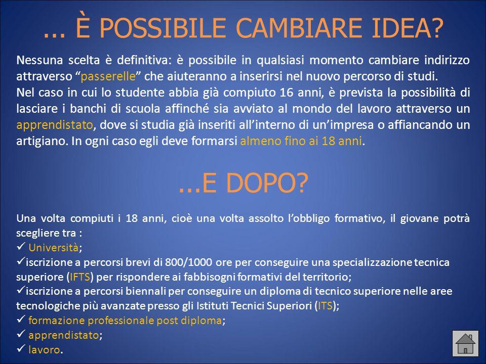 """... È POSSIBILE CAMBIARE IDEA? Nessuna scelta è definitiva: è possibile in qualsiasi momento cambiare indirizzo attraverso """"passerelle"""" che aiuteranno"""