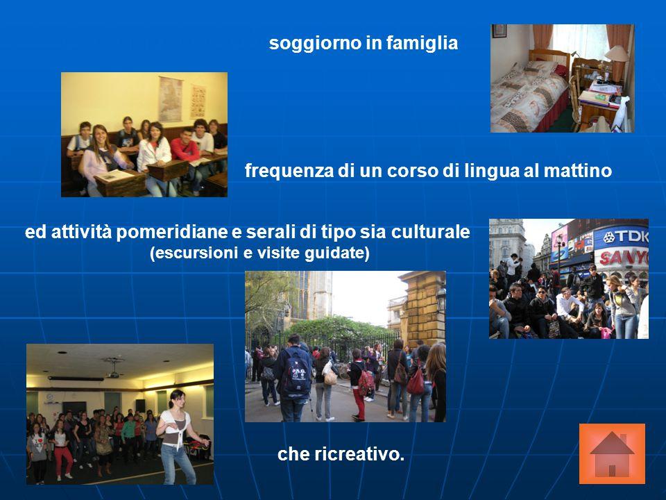 L'esperienza prevede il soggiorno in famiglia frequenza di un corso di lingua al mattino ed attività pomeridiane e serali di tipo sia culturale (escur