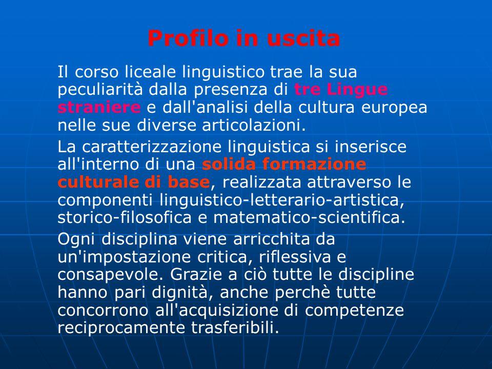 Profilo in uscita Il corso liceale linguistico trae la sua peculiarità dalla presenza di tre Lingue straniere e dall'analisi della cultura europea nel