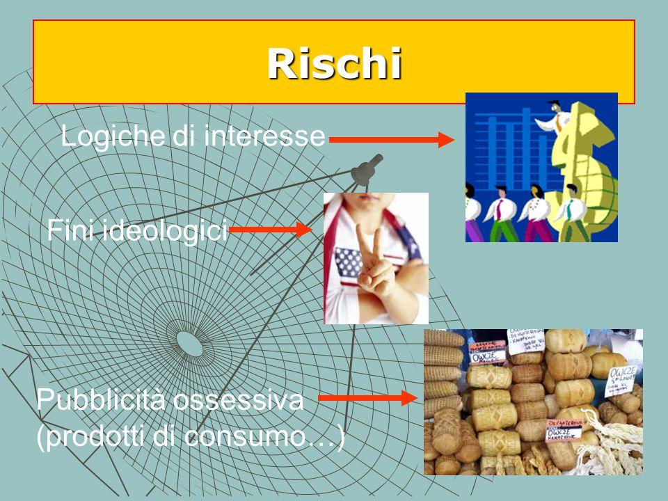Rischi Logiche di interesse Fini ideologici Pubblicità ossessiva (prodotti di consumo…)