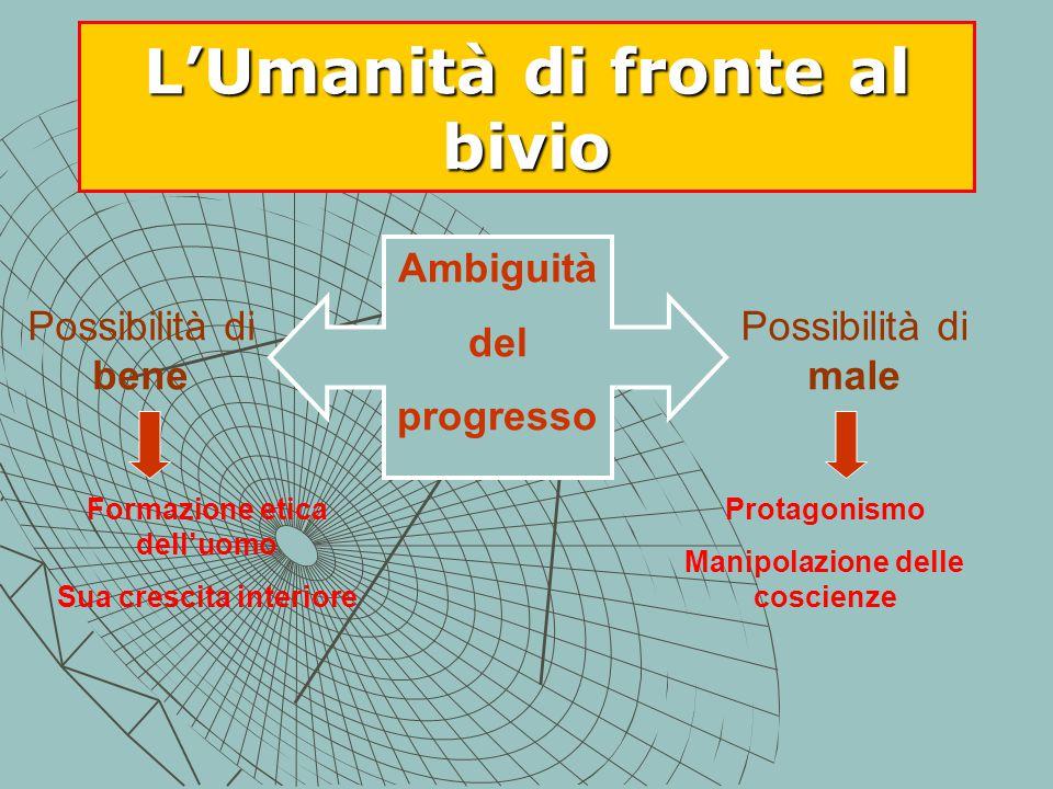 L'Umanità di fronte al bivio Possibilità di bene Possibilità di male Ambiguità del progresso Formazione etica dell'uomo Sua crescita interiore Protagonismo Manipolazione delle coscienze