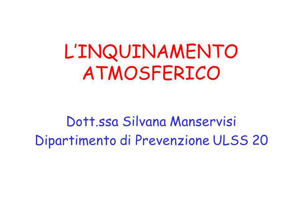 L'INQUINAMENTO ATMOSFERICO Dott.ssa Silvana Manservisi Dipartimento di Prevenzione ULSS 20