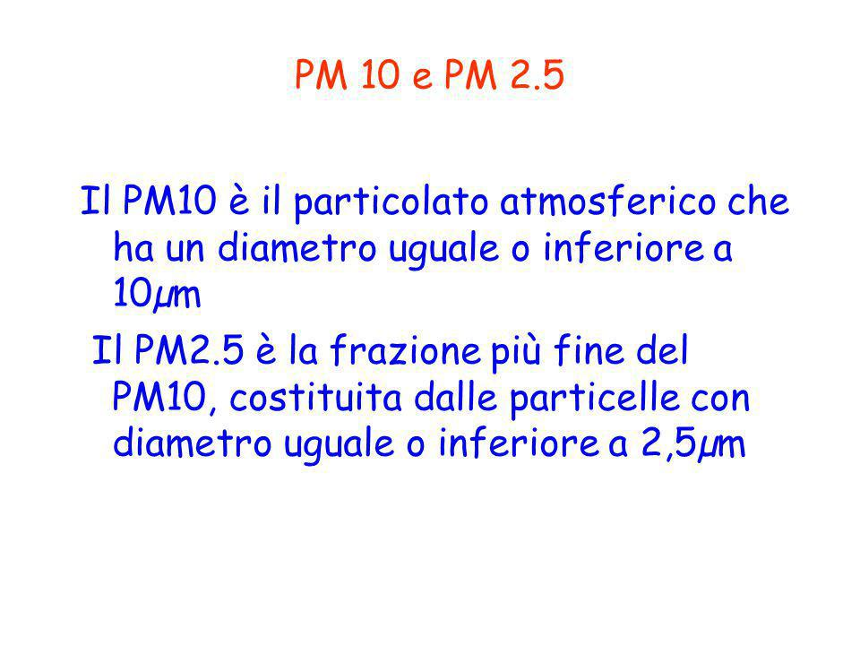 PM 10 e PM 2.5 Il PM10 è il particolato atmosferico che ha un diametro uguale o inferiore a 10µm Il PM2.5 è la frazione più fine del PM10, costituita dalle particelle con diametro uguale o inferiore a 2,5µm