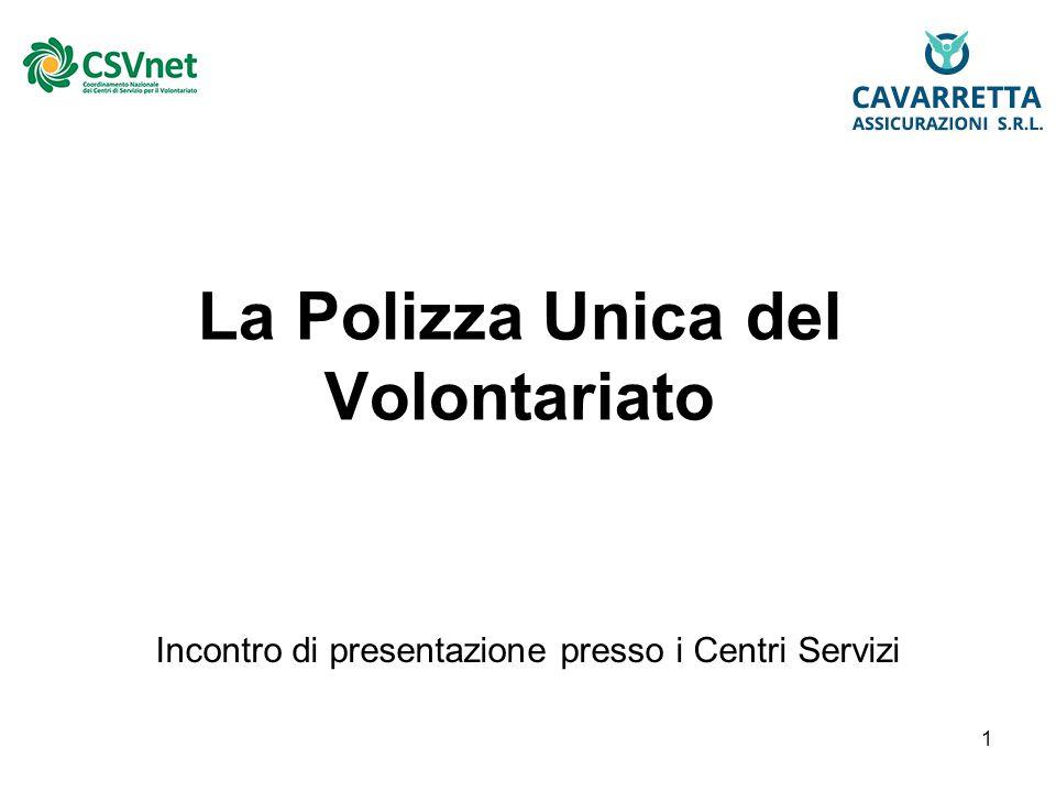 1 La Polizza Unica del Volontariato Incontro di presentazione presso i Centri Servizi