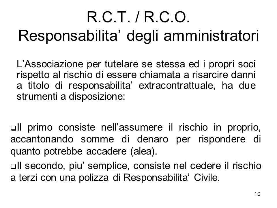 10 R.C.T. / R.C.O. Responsabilita' degli amministratori L'Associazione per tutelare se stessa ed i propri soci rispetto al rischio di essere chiamata