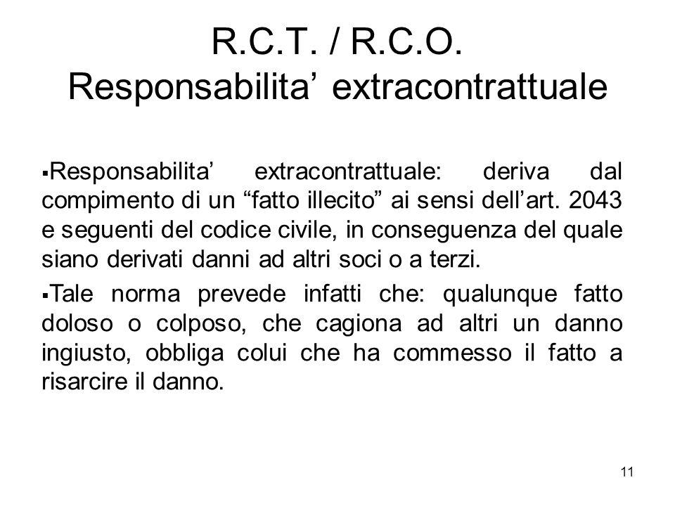 """11 R.C.T. / R.C.O. Responsabilita' extracontrattuale  Responsabilita' extracontrattuale: deriva dal compimento di un """"fatto illecito"""" ai sensi dell'a"""