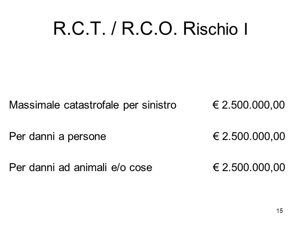 15 R.C.T. / R.C.O. R ischio I Massimale catastrofale per sinistro € 2.500.000,00 Per danni a persone € 2.500.000,00 Per danni ad animali e/o cose € 2.