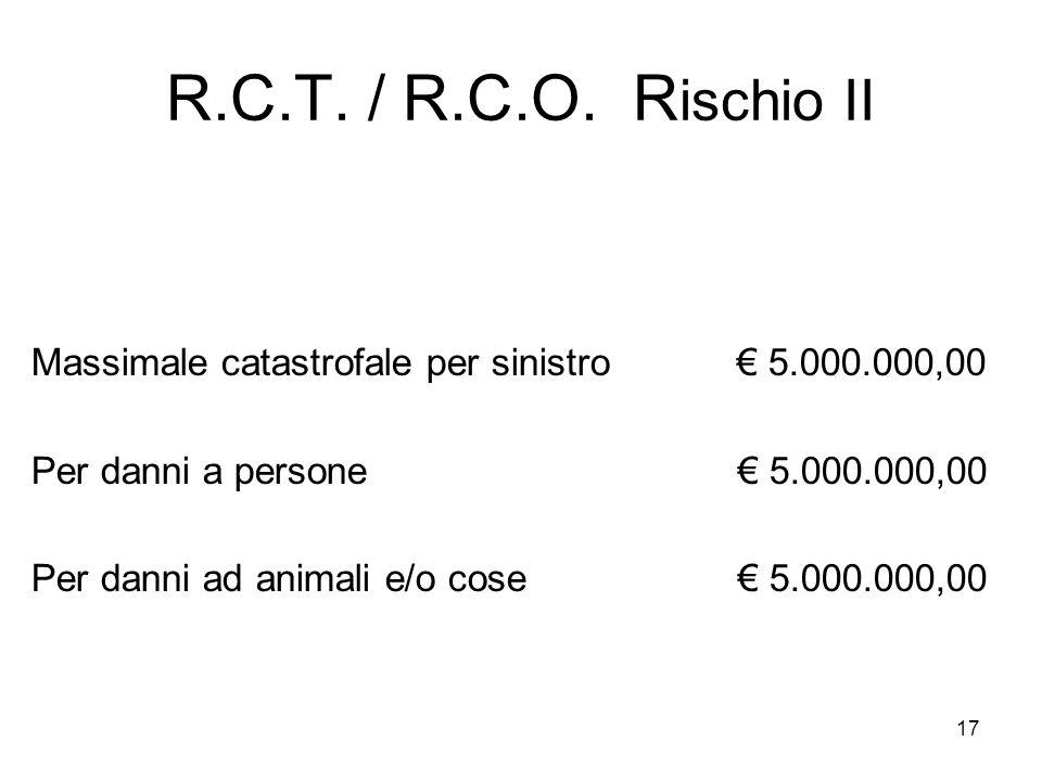 17 R.C.T. / R.C.O. R ischio II Massimale catastrofale per sinistro € 5.000.000,00 Per danni a persone € 5.000.000,00 Per danni ad animali e/o cose € 5
