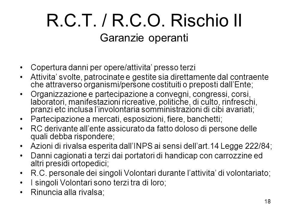 18 R.C.T. / R.C.O. Rischio II Garanzie operanti Copertura danni per opere/attivita' presso terzi Attivita' svolte, patrocinate e gestite sia direttame