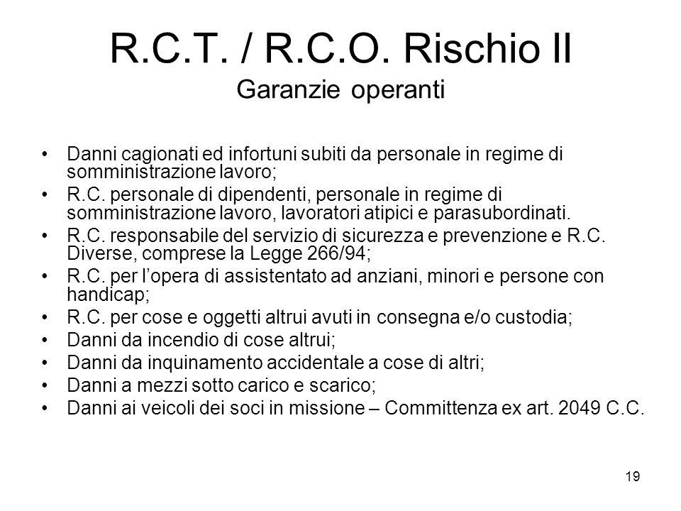 19 R.C.T. / R.C.O. Rischio II Garanzie operanti Danni cagionati ed infortuni subiti da personale in regime di somministrazione lavoro; R.C. personale