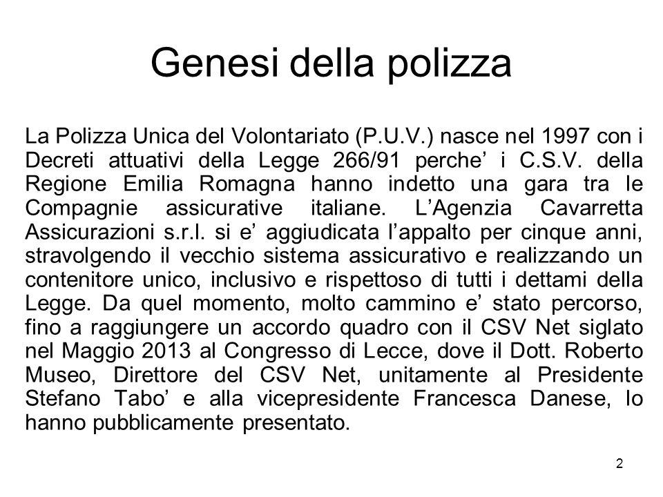2 Genesi della polizza La Polizza Unica del Volontariato (P.U.V.) nasce nel 1997 con i Decreti attuativi della Legge 266/91 perche' i C.S.V. della Reg