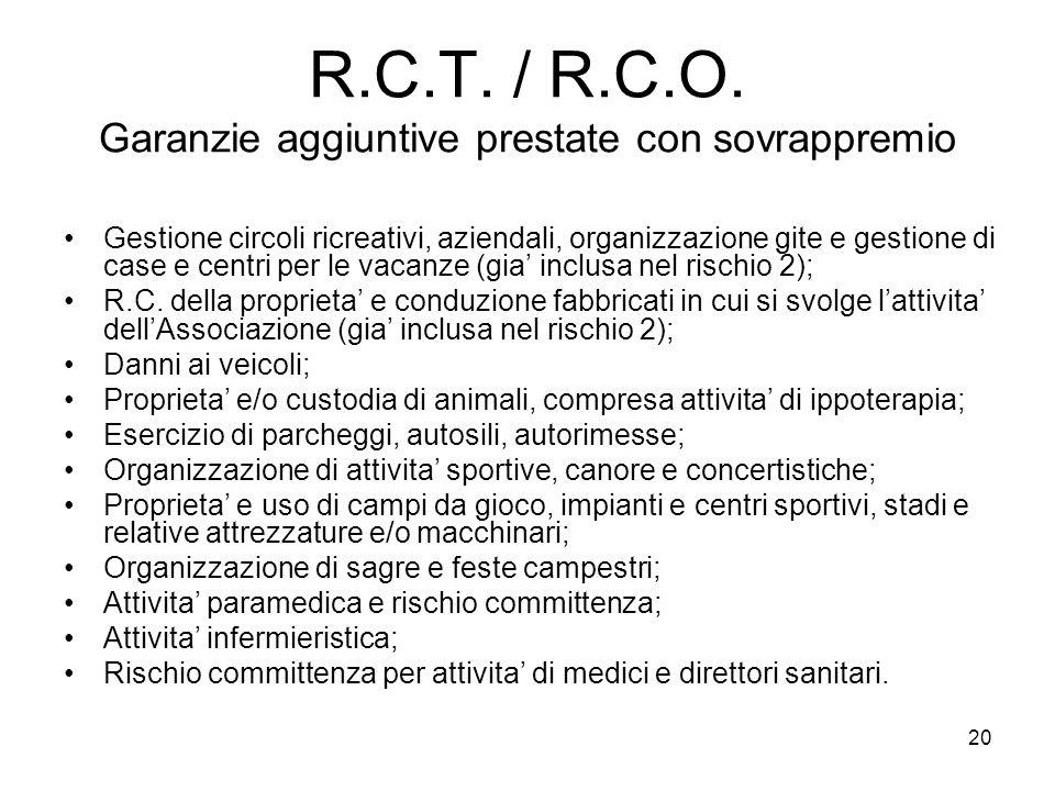 20 R.C.T. / R.C.O. Garanzie aggiuntive prestate con sovrappremio Gestione circoli ricreativi, aziendali, organizzazione gite e gestione di case e cent