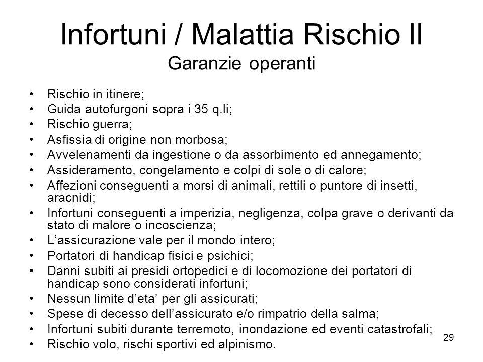29 Infortuni / Malattia Rischio II Garanzie operanti Rischio in itinere; Guida autofurgoni sopra i 35 q.li; Rischio guerra; Asfissia di origine non mo