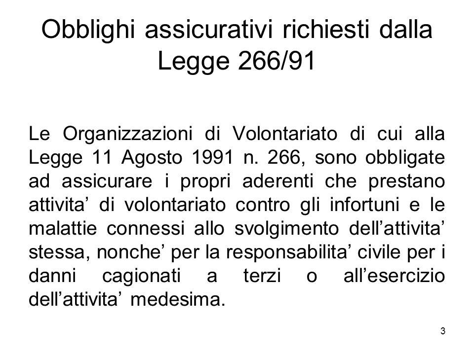 3 Obblighi assicurativi richiesti dalla Legge 266/91 Le Organizzazioni di Volontariato di cui alla Legge 11 Agosto 1991 n. 266, sono obbligate ad assi