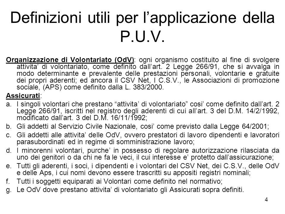 4 Definizioni utili per l'applicazione della P.U.V. Organizzazione di Volontariato (OdV): ogni organismo costituito al fine di svolgere attivita' di v