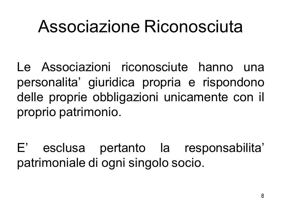 8 Associazione Riconosciuta Le Associazioni riconosciute hanno una personalita' giuridica propria e rispondono delle proprie obbligazioni unicamente c
