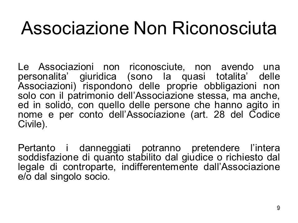 9 Associazione Non Riconosciuta Le Associazioni non riconosciute, non avendo una personalita' giuridica (sono la quasi totalita' delle Associazioni) r