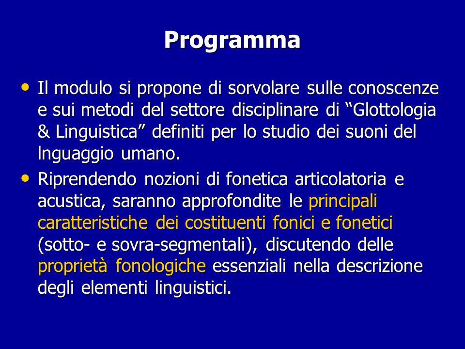 Programma Il modulo si propone di sorvolare sulle conoscenze e sui metodi del settore disciplinare di Glottologia & Linguistica definiti per lo studio dei suoni del lnguaggio umano.
