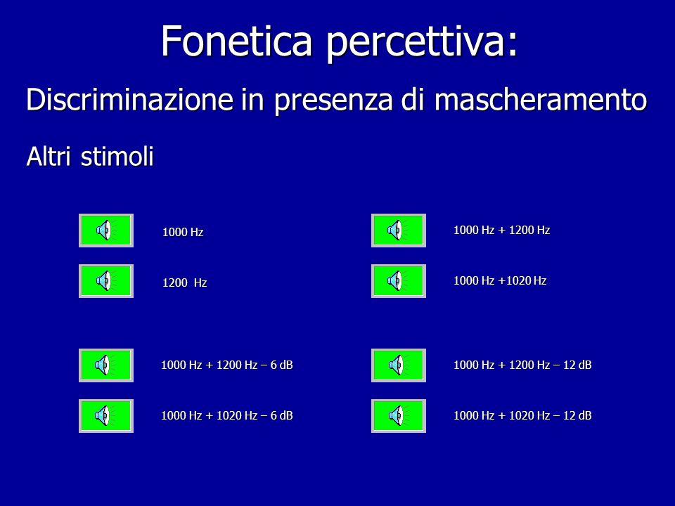 Fonetica percettiva: Discriminazione in presenza di mascheramento prima coppia di stimoli seconda coppia di stimoli terza coppia di stimoli 1000 Hz 12