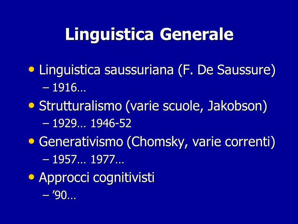 Linguistica Generale Linguistica saussuriana (F.De Saussure) Linguistica saussuriana (F.