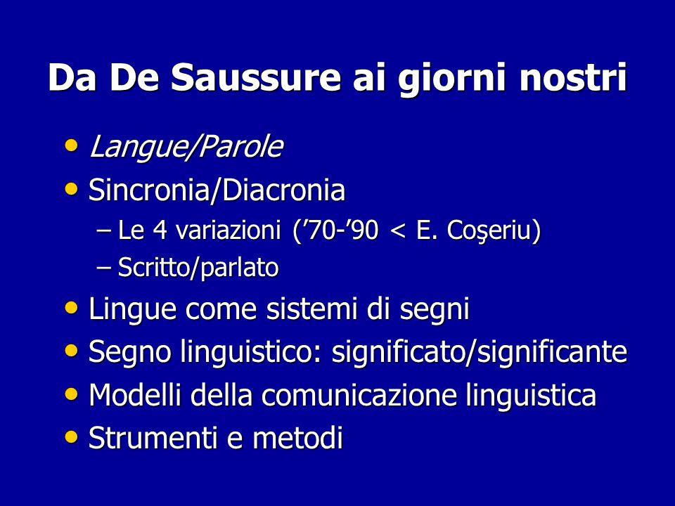 Linguistica Generale Linguistica saussuriana (F. De Saussure) Linguistica saussuriana (F. De Saussure) –1916… Strutturalismo (varie scuole, Jakobson)
