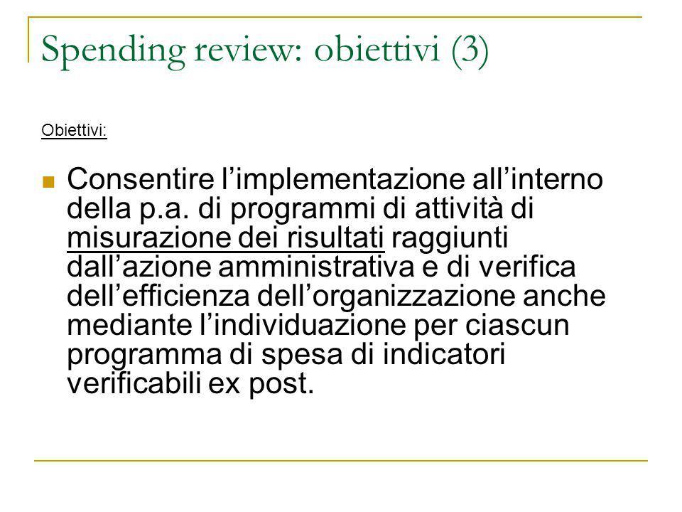 Spending review: obiettivi (3) Obiettivi: Consentire l'implementazione all'interno della p.a. di programmi di attività di misurazione dei risultati ra