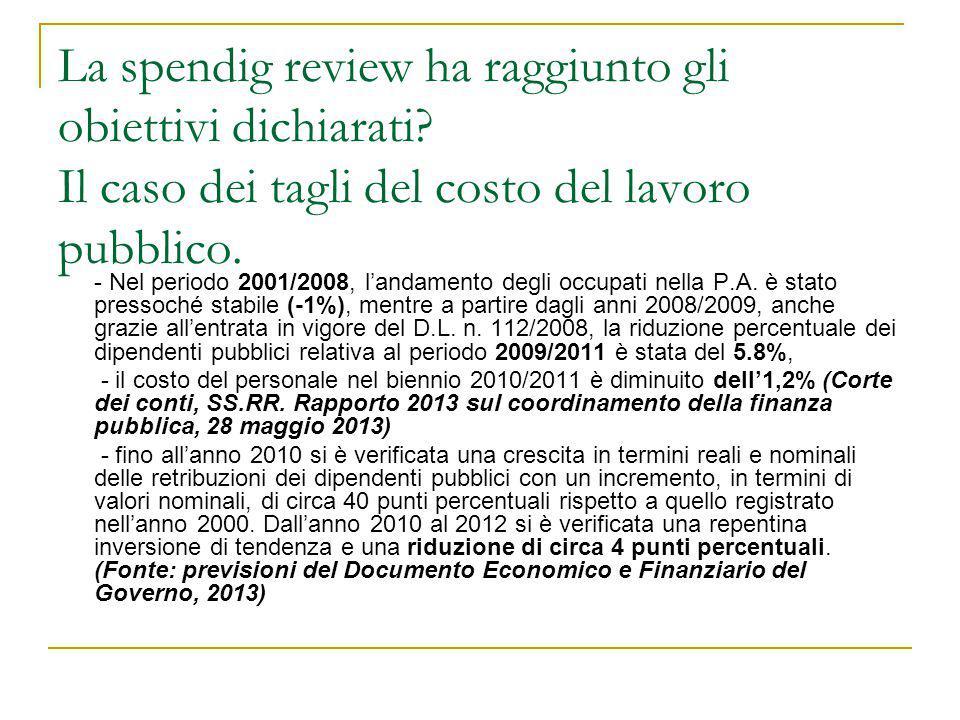 La spendig review ha raggiunto gli obiettivi dichiarati? Il caso dei tagli del costo del lavoro pubblico. - Nel periodo 2001/2008, l'andamento degli o
