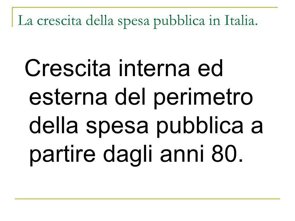 La crescita del perimetro interno ed esterno della spesa pubblica in Italia - Sono cresciuti i costi di funzionamento a discapito di quelli destinati alla produzione dei servizi (outcome); - Il numero delle pubbliche amministrazioni e degli organismi partecipati aumenta del 30% negli anni '90 (polimorfismo) - Le funzioni sono state frammentate tra una pluralità di livelli di governo (riforma del titolo V), con l'aggravante che Comuni e Province svolgono le medesime funzioni a prescindere dalla loro dimensione ed in mancanza una razionale allocazione delle funzioni al livello istituzionale ottimale.