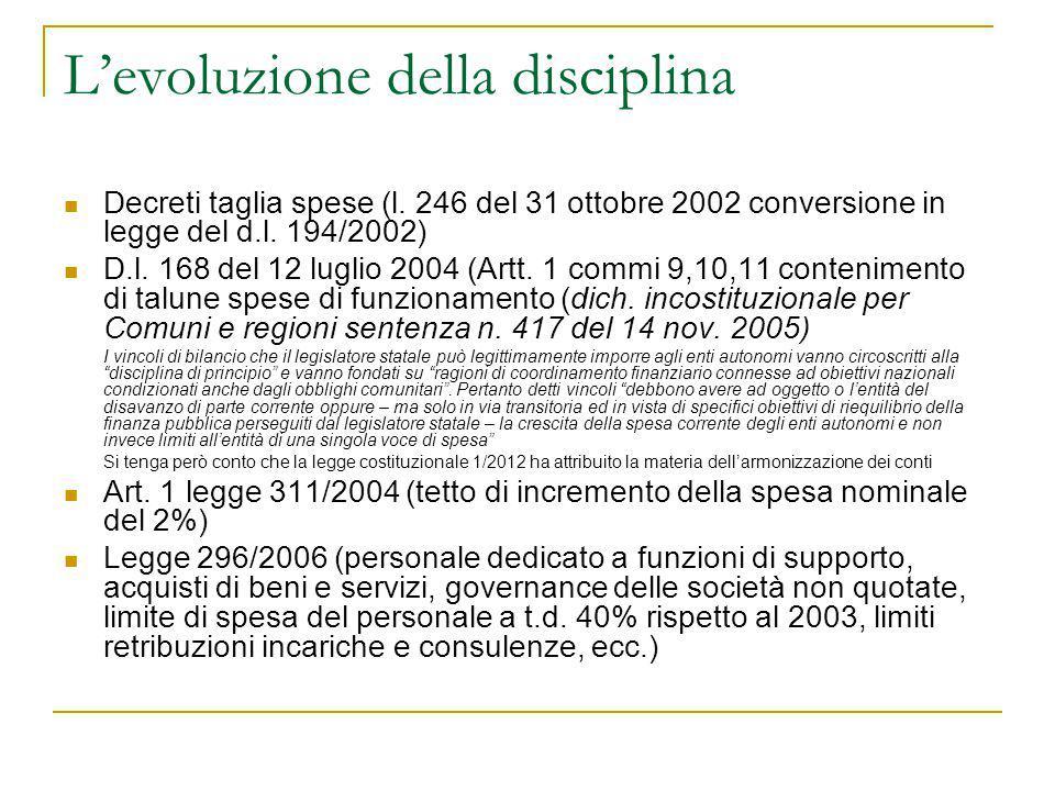L'evoluzione della disciplina Decreti taglia spese (l. 246 del 31 ottobre 2002 conversione in legge del d.l. 194/2002) D.l. 168 del 12 luglio 2004 (Ar
