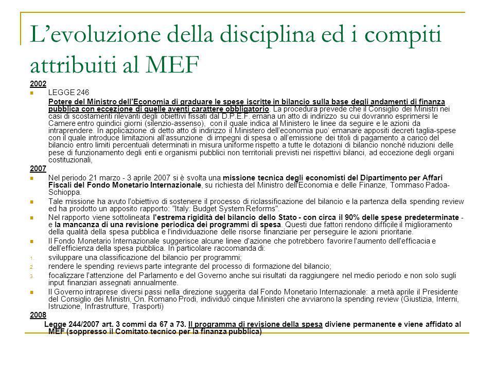 L'evoluzione della disciplina ed i compiti attribuiti al MEF 2002 LEGGE 246 Potere del Ministro dell'Economia di graduare le spese iscritte in bilanci