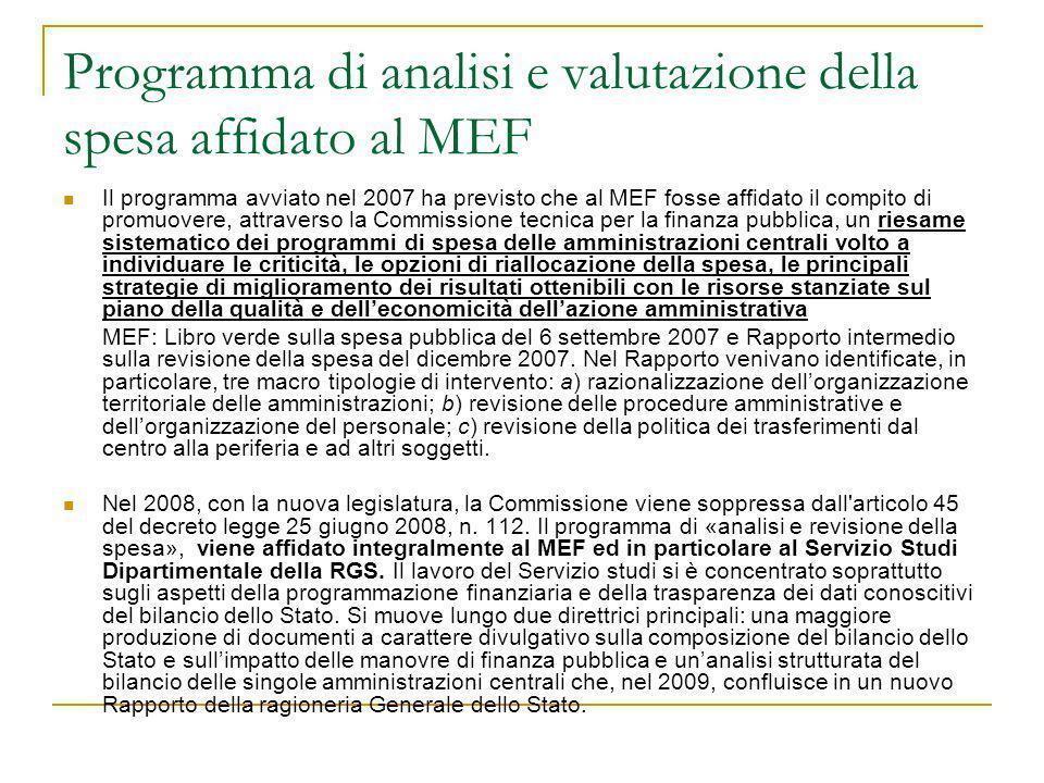 Programma di analisi e valutazione della spesa affidato al MEF Il programma avviato nel 2007 ha previsto che al MEF fosse affidato il compito di promu