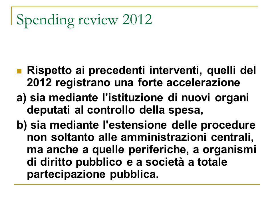 Spending review 2012 Rispetto ai precedenti interventi, quelli del 2012 registrano una forte accelerazione a) sia mediante l'istituzione di nuovi orga